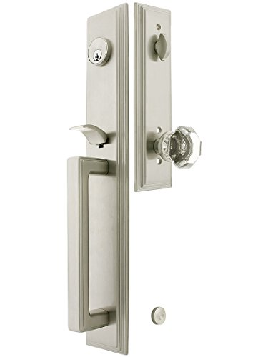 """Melrose Style Tubular Handleset In Satin Nickel With Old Town Knobs And 2 3/8"""" Backset. Antique Handles. front-1034307"""