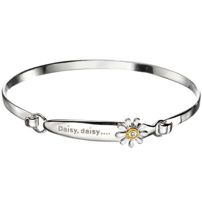 D for Diamond Childs Silver Diamond Enamel Daisy Bangle GK-B3774