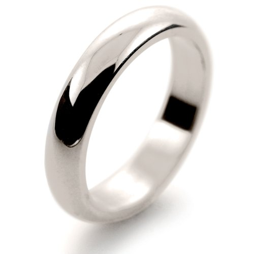 18ct White Gold Wedding Ring Xtra Heavy D Shape - 4mm