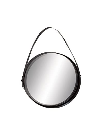 Deco 79 Metal Wall Mirror with Strap, Dark Brown