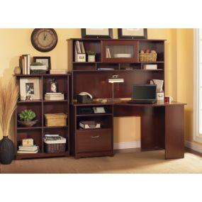 Cabot Corner Desk with Hutch and Bookcase in Harvest Cherry Finish by Bush Furniture
