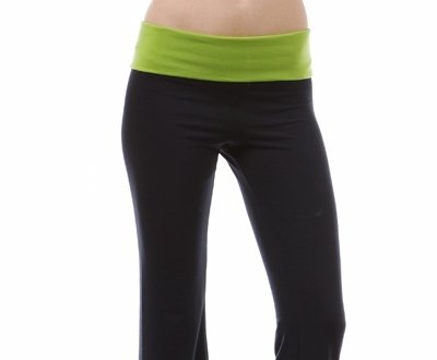 Capri Yoga Pants with Contrast Color Fold Over Waist-8 Colors