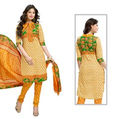 Shaily Retails Women's Yellow Cotton Unstiched Dress Material
