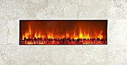 "Modern Flames 58"" Wall Mount Linear Electric Fireplace Honey Travertine"