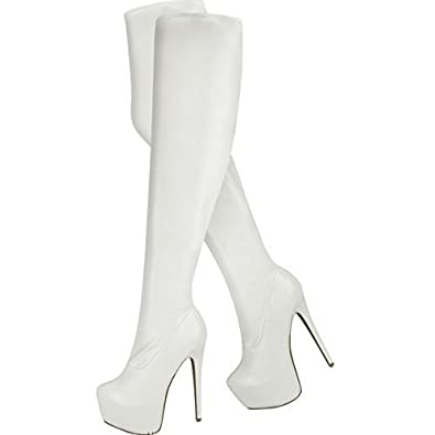 LADIES WOMENS OVER KNEE THIGH HIGH HEEL STRETCH SUEDE LEATHER BOOTS SHOES (UK 3 / EU 36 / US 5, Matt White Stretch PU)