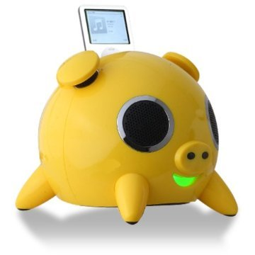 Speakal iPig 2.1 Stereo iPod Docking Station with 5 Speakers (Yellow)
