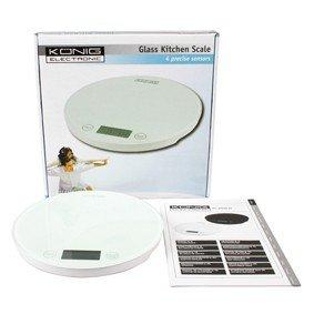 BALANCE DE CUISINE ELECTRONIQUE KÖNIG - Rond - Capacité: 5 kg - Graduation: 1 g - Blanc