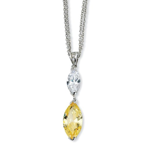 Sterling Silver Marq Canary/White CZ 17 Inch with 2 Inch xtDouble Strand Necklace