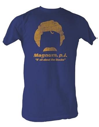 """Magnum T-Shirt, Magnum Stache Blue, Large, Chest 42 - 44"""""""