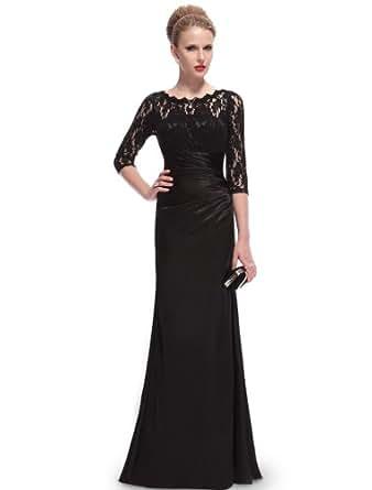 Ever Pretty Womens Elegant Lace Long Sleeve Formal Floor Length Evening Dress 4 US Black