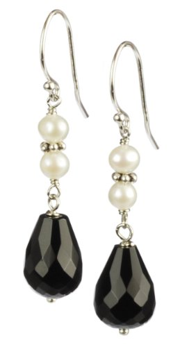 Faceted Crystal Black Onyx with White Pearl Accents Drop Earrings
