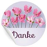 24 Dankes Aufkleber mit Blüten in rosa
