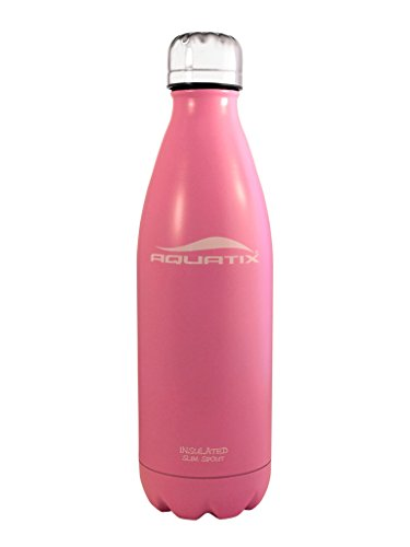 Pink 17 Oz Aquatix Ultimate Sport Bottles Personal Hydration Easy Best Ever Insulated Eco-friendly Water Bottle on Amazon Won't Leak or Sweat Try It Risk Free 100% Pure & Safe Stainless Steel Won't Rust or Crack, No Metal Taste, BPA & Toxin-free. Keep Drinks Cold 24 Hrs, Hot 12 Hrs Perfect for Yoga Soccer Basketball Fitness Exercise Football Golf Outdoor Hiking Rock Climbing Hunting Fishing Softball Baseball Maximum Chill Factor