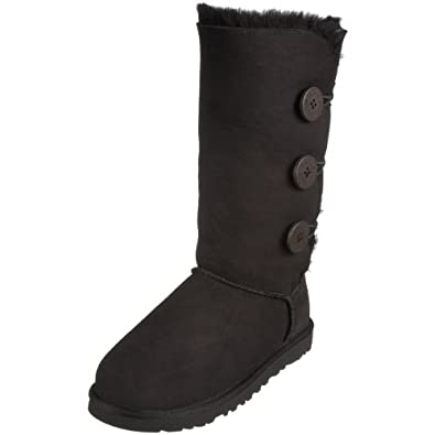UGG Australia Women's Bailey Button Triplet Sheepskin Fashion Boot Black 5 M US