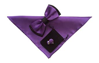 Papillon et boutons de manchette pour homme einstecktuch donné no27 two tone violet
