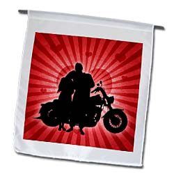 3dRose fl_101818_1 Motorcycle Love with The Silhouette of a Couple and a Heart Background Garden Flag, 12 by 18-Inch