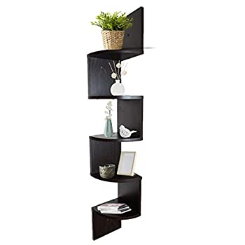 Adorn Home Essentials  Corner Zig Zag Wall Mount Shelves  5-Tier, Walnut Finish
