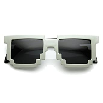 Retro Novelty Nerd Geek Gamer Colorful 2-Tone Pixel Glasses (Grey)