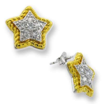 New Fine Jewelry Studded Star Earrings 925 Sterling Silver & Radiant Gold Plated CZ(WoW !With Purchase Over $50 Receive A Marcrame Bracelet Free)