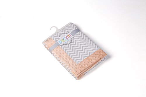 "Bacati Ikat Zigzag Chevron with Border Plush Blanket, Grey/Coral, 30"" x 40"""