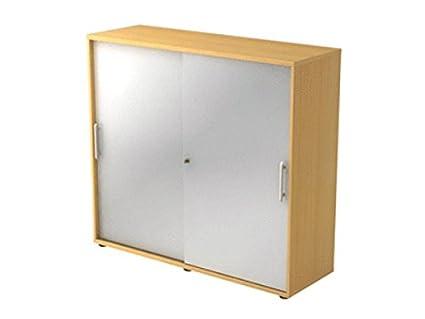 Armoire portes coulissantes 3HC RE, couleur Hêtre/ Argenté