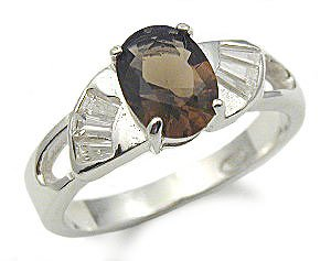 SemiPrecious Gemstone Rings  Sterling Silver Genuine Smoky Quartz Ring  Size 5