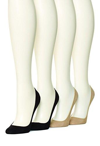 HUE Women's 4 pair pack Cotton Liner, Asst, Medium/Large (Size 2)