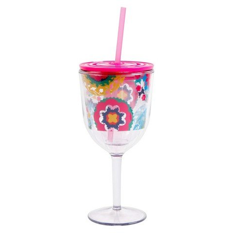 OUI by French Bull 14 Oz Wine Stem Tumbler Cup with Straw