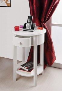 kommode beistelltisch rund mit einer schublade und ablage in wei k che haushalt. Black Bedroom Furniture Sets. Home Design Ideas