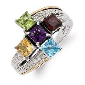 Genuine IceCarats Designer Jewelry Gift Sterling Silver & 14K Five-Stone And Diamond Mother's Semi-Mount Ring Size 6.00