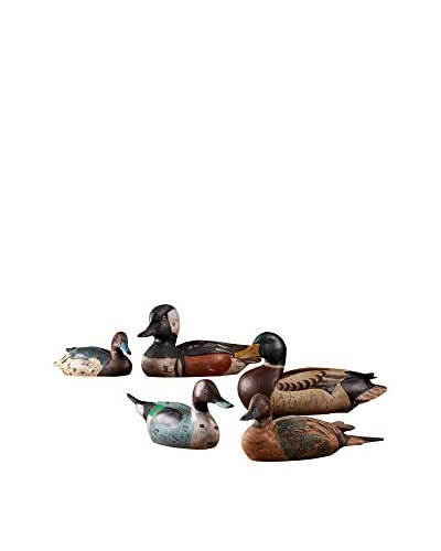 Set of 5 Hand-Carved Duck Sculptures