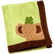 Soft Brown and Green Elephant and Frog Blanket