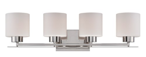 Nuvo Lighting 60/5204 Parallel Four Light Vanity 100-Watt A19 Max CUL Damp Location Etched Opal Glass Polished Nickel Fixture