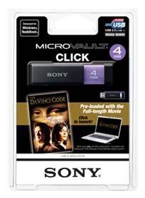 Sony Micro Vault Click 4 GB USB 2.0 Flash Drive with Virtual Expander and The Da Vinci Code Movie USM4GL/DVC