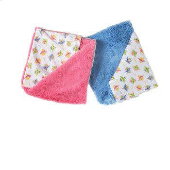Pack of 2 Pink and Blue Monkeez and Friends Infant Blankets - 1