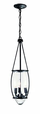 World Imports 5952-93 Crystal Elegance Collection 3-Light Hanging Pendant, Natural Iron