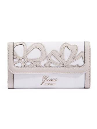 Guess Floren SLG Slim Clutch Wallet, White Multi