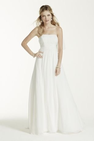 Chiffon Wedding Dress with Beaded Lace Waist Style NTV9743, Ivory, 10