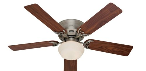 Hunter Fan Company 53074 Low Profile Iii Plus 52-Inch Ceiling Fan With Five Walnut/Light Cherry Blades And Light Kit, Antique Pewter