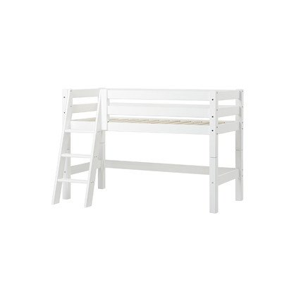 Halbhohes Bett XXL mit schräger Leiter, 70 x 160 cm Farbe: Weiß, Liegefläche: 90 x 200 cm, Lattenrost: Fexibler Einlegelattenrost