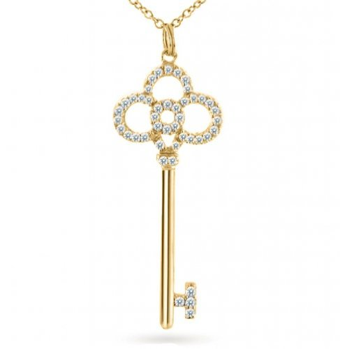 Bling Jewelry 14K Gold Vermeil CZ Paved Crown Key Pendant with 18 inch chain