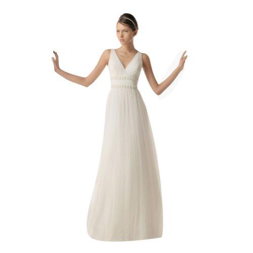 Whatabeautifullife Women's Pure Pleated Chiffon V-Neck Beaded Sash Floor-Length Wedding Dress Size 4 Color White