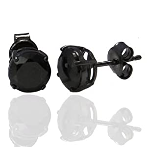 Authentic Black Enamel Stud Earrings Sterling Silver .925 Genuine Black Diamond Color Cubic Zirconia 2 Carat Total Weight Special Limited Time Offer Super Sale Price, Comes with a Free Gift Pouch and Gift Box