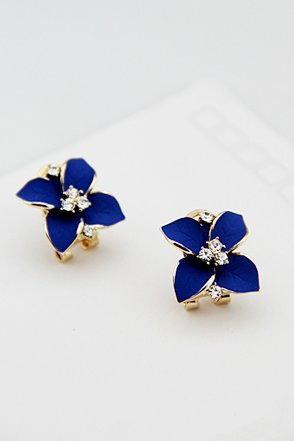 south-korean-imports-of-noble-navy-blue-frosted-retro-the-camellia-flower-diamond-stud-earrings-ear-
