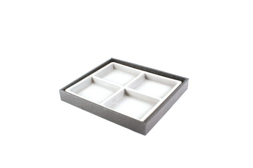 Black Display Tray & Grey Insert with 4 Compartments