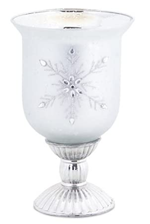 Elegant Matte Silver Glass Jeweled Snowflake Christmas Pillar Candle Holders Set of 4 by Melrose