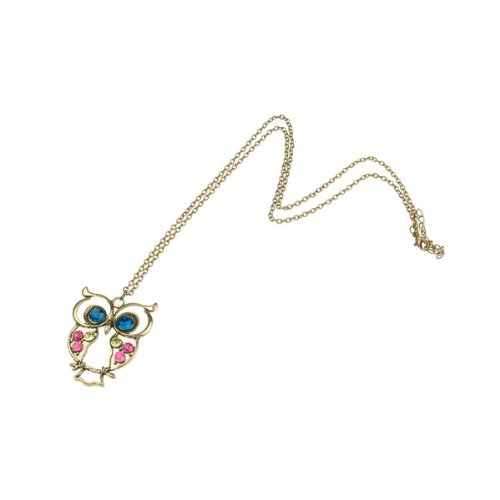 BestDealUSA Fashion Multi-Color Acrylic Diamond Alloy Metal Owl Pendant Chain Necklace
