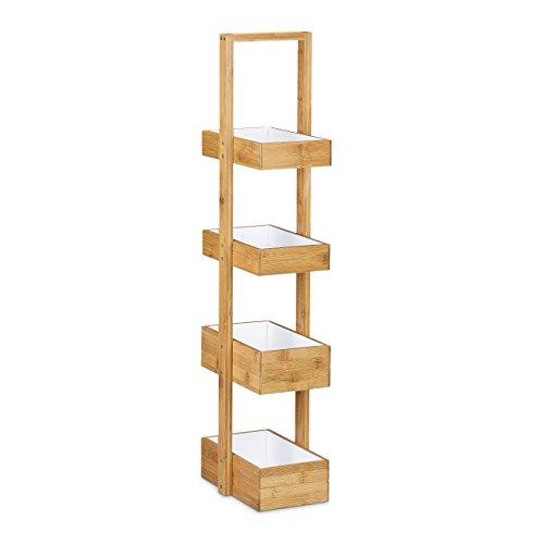 Relaxdays-Bambus-Badregal-HBT-885-x-255-x-185-cm-Praktisches-Badezimmerregal-als-Ablagestnder-mit-4-Krben-als-Bambus-Butler-Korbregal-aus-natrlichem-Holz-fr-Badezimmer-und-Feuchtrume-natur