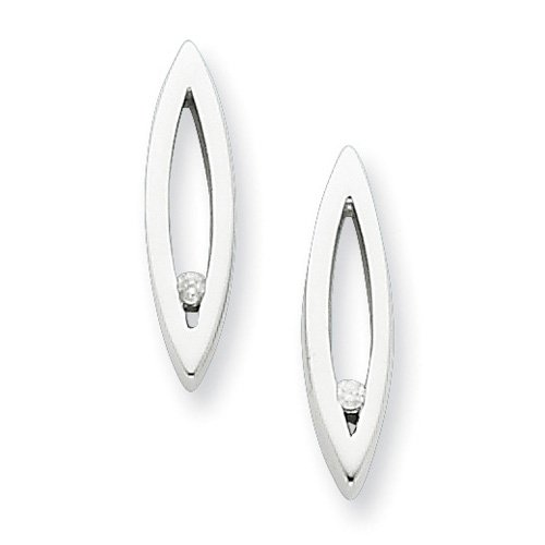 Sterling Silver White Ice .02ct. Diamond Earrings. Comes in a lovely Gift Box