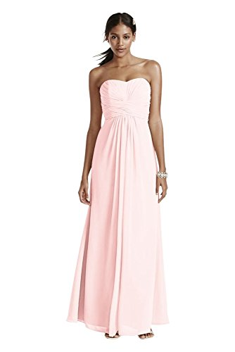d12f12ec68af Long Strapless Chiffon Bridesmaid Dress and Pleated Bodice Style F15555,.